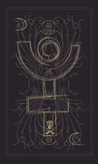 Tarot cards - back design.   Pluto, death