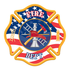 Fire Department Cross is a fire department cross with the US flag background.