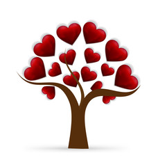 Tree Valentines heart love logo
