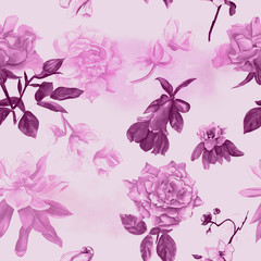 Retro style watercolour flowers seamless background pattern