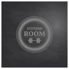 Emblem fitness room in retro style, vector illustration