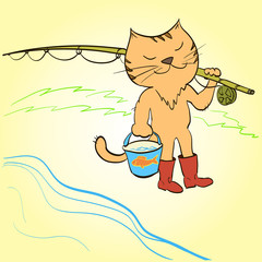 Cat goes fishing with a fishing rod and a bucket in the clutches