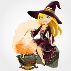 Beautiful witch sit on grave with the boiler of potion