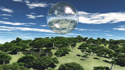Oxygen bubble over a green forest under a blue cloudy sky