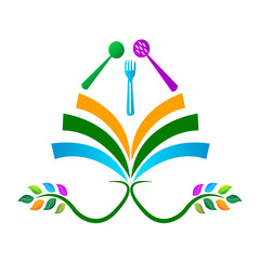 Cooking education logo design isolated on white background.