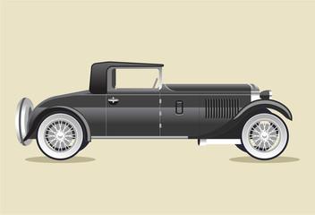 Retro old black car. Vector flat illustration