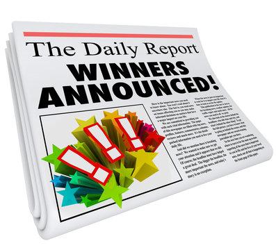 Winners Announced Newspaper Headline Announcement