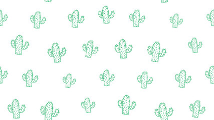 Vector seamless background of cactus on a white background.