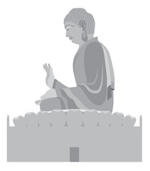 Big Buddha Sitting Statue Grayscale Vector Illustration