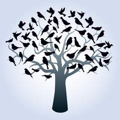 Tree and Black Birds. Vector Illustraion.