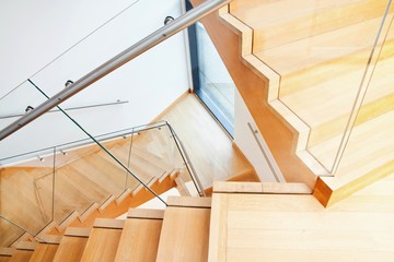 Printed roller blinds Stairs Modern architecture interior with wooden stairs