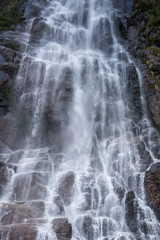 Water fall on a rock in the Vicente Perez Rosales National Park, Chile