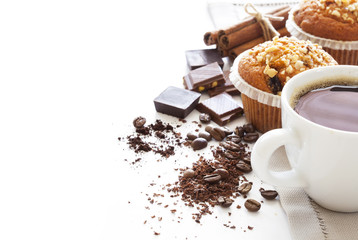 Muffin cakes with coffee