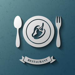 Restaurant logotype design template, Fork and spoon, Pepper, Stylized business logo idea