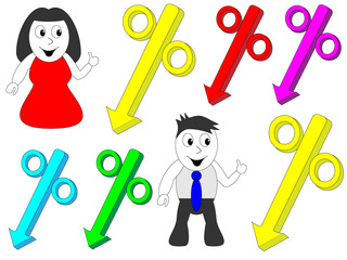 Man and woman pointing to the percentage discounts