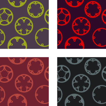 Vector pack of bike chainrings seamless pattern