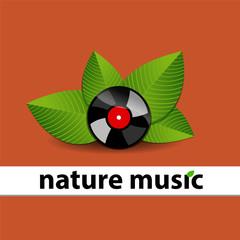Disco de vinilo negro con brillos y hojas verde detrás del disco con la frace nature music