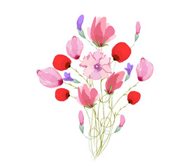 Watercolor Bouquet of tulips in Pink