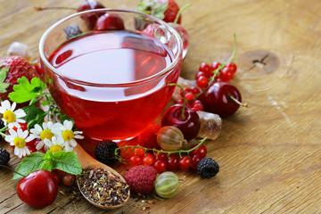 berry tea with fresh currants, raspberries and strawberries