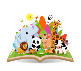 Funny Animal Cartoon in the forest on the book