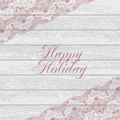 Vintage wood background with lace