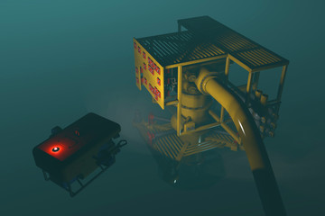High quality 3D render of an ROV inspecting an underwater oil and gas wellhead. Fictitious ROV, oil and gas equipment. Murky water to emphasize depth, and blurred image for dramatic effect.