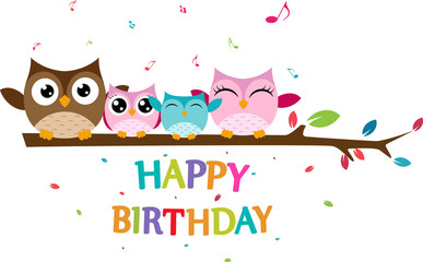 Happy owl family celebrate birthday