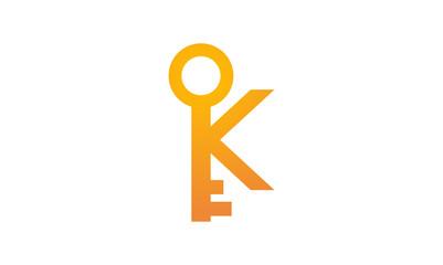 Simple K of Key Logo Illustration