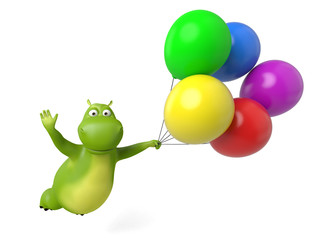 3d cartoon animal flying with some balloon.