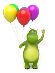 3d cartoon animal with some balloon. 3d image. Isolated white background