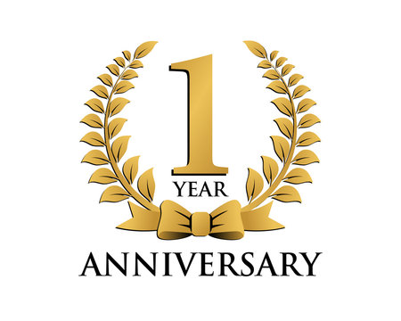 anniversary logo ribbon wreath 1
