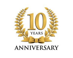 anniversary logo ribbon wreath 10