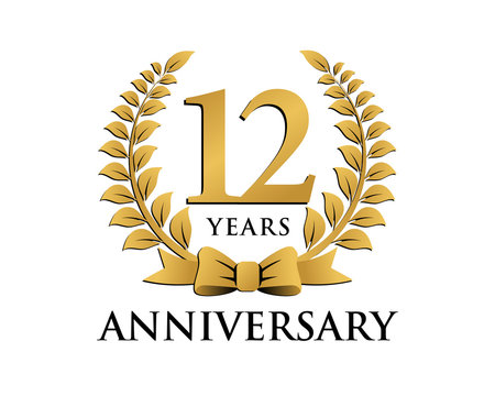 anniversary logo ribbon wreath 12