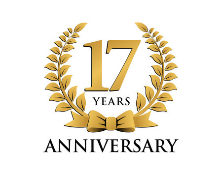 anniversary logo ribbon wreath 17