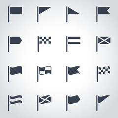 Vector black flag icon set