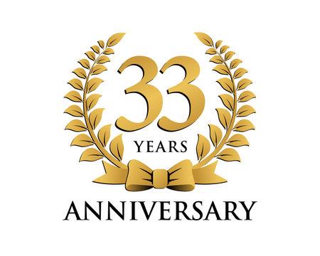 anniversary logo ribbon wreath 33