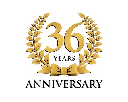 anniversary logo ribbon wreath 36