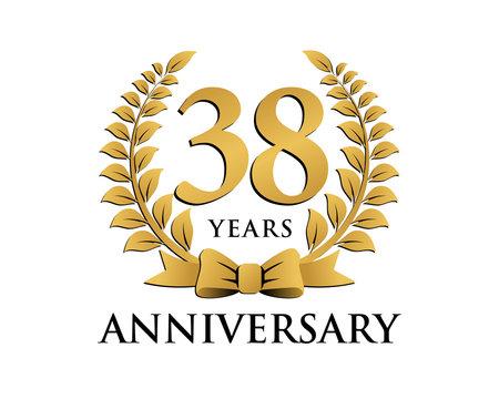 anniversary logo ribbon wreath 38