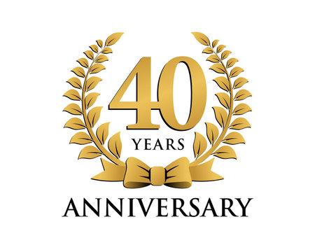 anniversary logo ribbon wreath 40