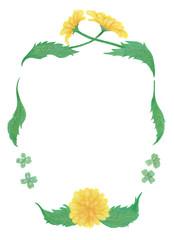 水彩画のたんぽぽの花フレーム Watercolor Frame Of Dandelion