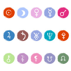 Colorful astrological signs of planets
