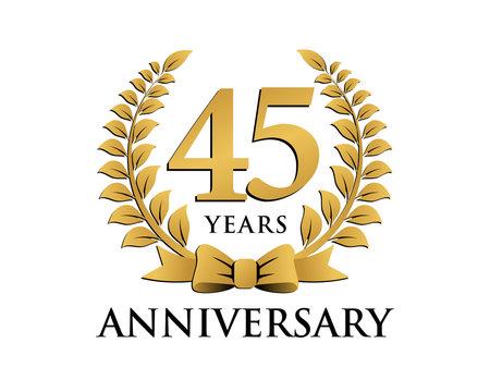 anniversary logo ribbon wreath 45