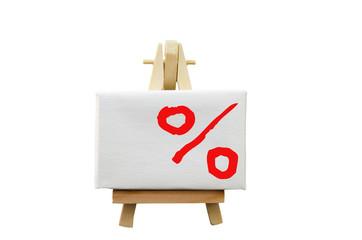 Staffelei mit Prozentzeichen