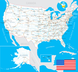 USA map and flag - highly detailed vector illustration with next layers.There are land contours, country and land names,  city names, water object names, flag, navigation icons, roads, railways.