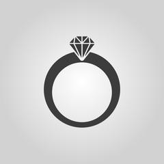 The ring icon. Diamond and jewelry, wedding symbol. Flat
