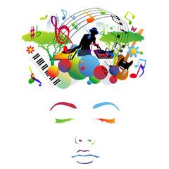viso, faccia, volto, musica, ragazza
