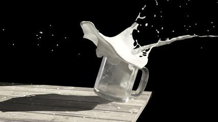 Glass splashing Milk
