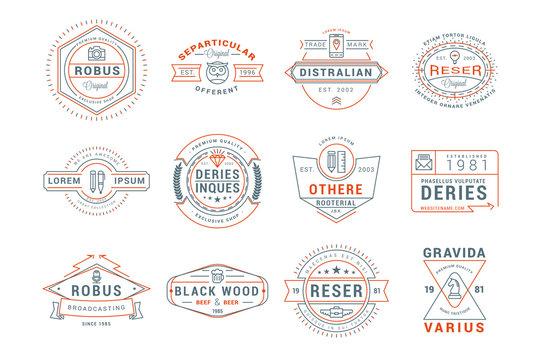 Set of Hipster Vintage Labels, Logotypes, Badges. Thin Line Design Templates