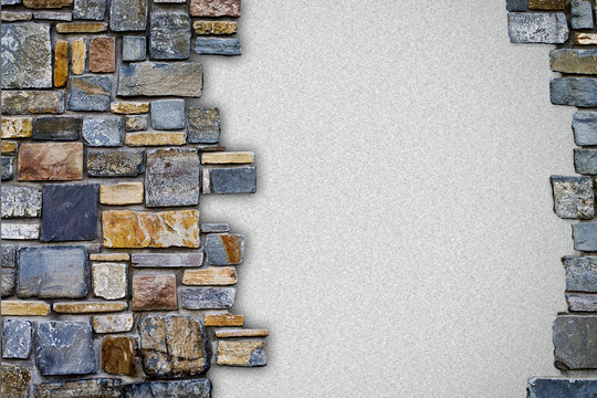 background stone wall with white copy space