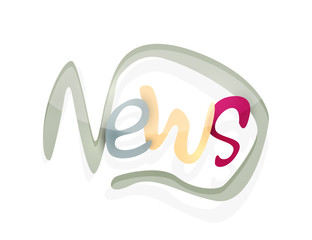 News word, drawn lettering typographic element